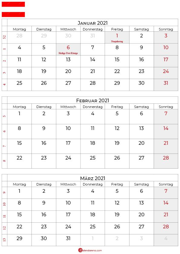 kalender januar februar märz 2021 Österreich