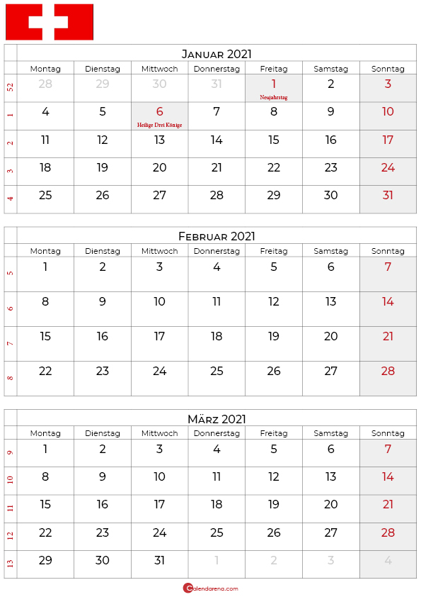 kalender januar februar märz 2021 Schweiz