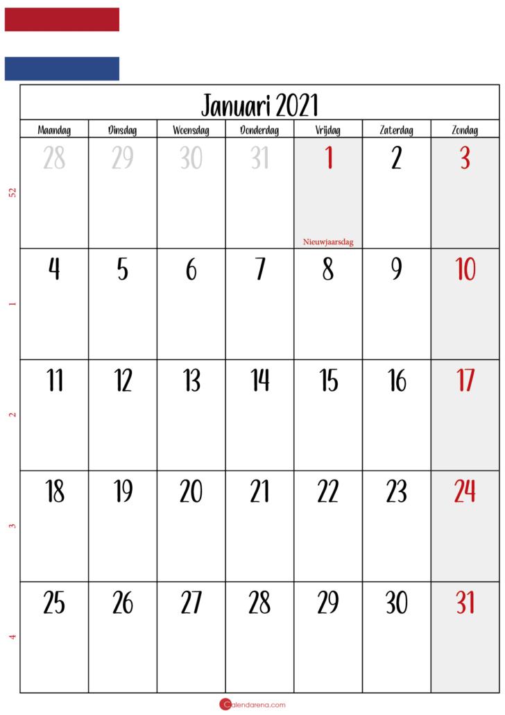 kalender januari 2021 NL