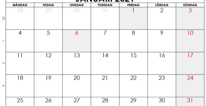 kalender januari 2021 finland