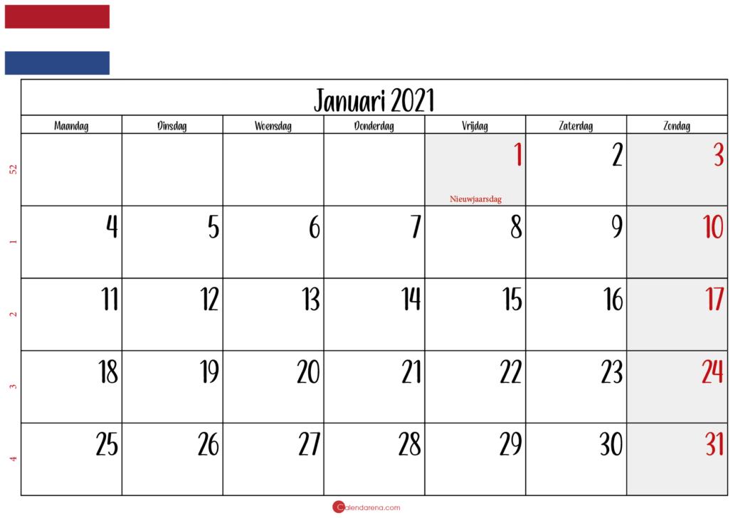 kalender januari 2021 landschap NL2
