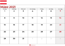 kalender märz 2021 Österreich