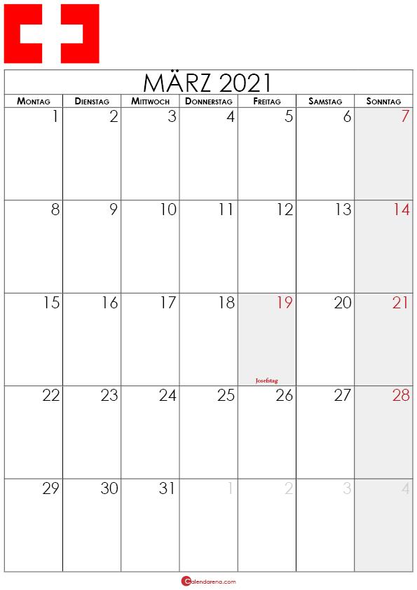 kalender märz 2021 Schweiz hochformat