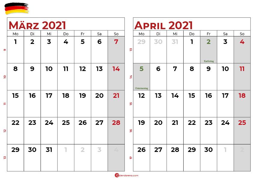 kalender märz april 2021