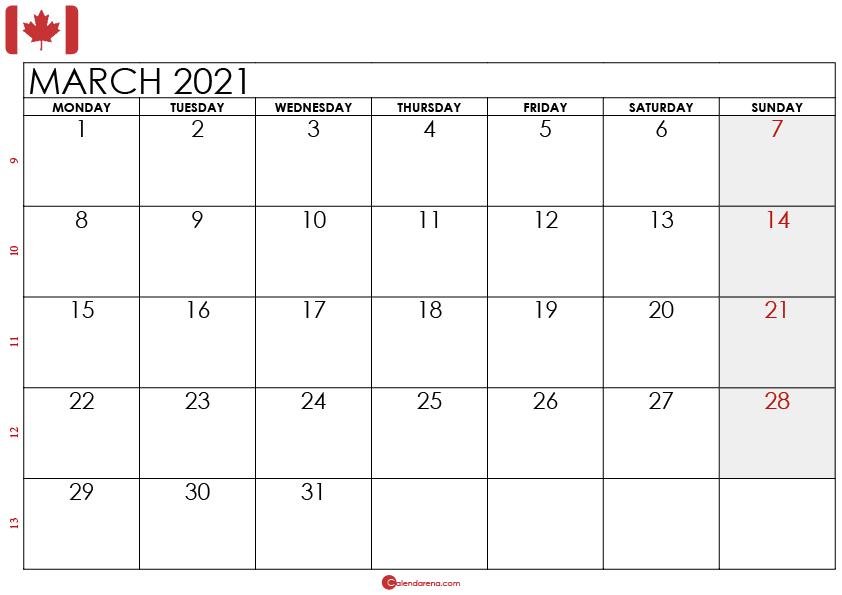 march 2021 calendar CA