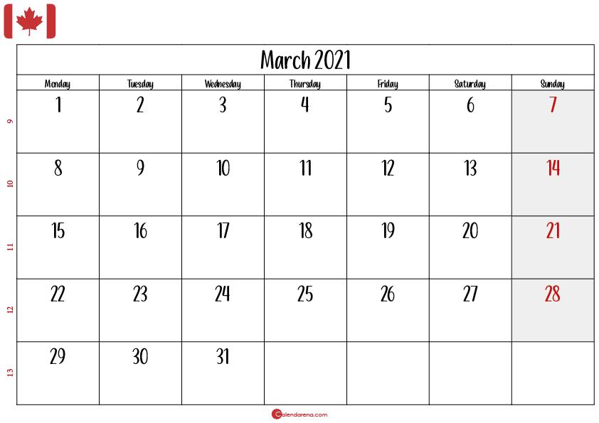march 2021 calendar printable canada