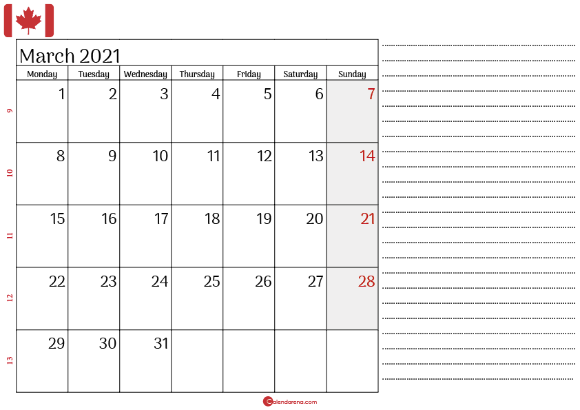 march 2021 printable calendar canada