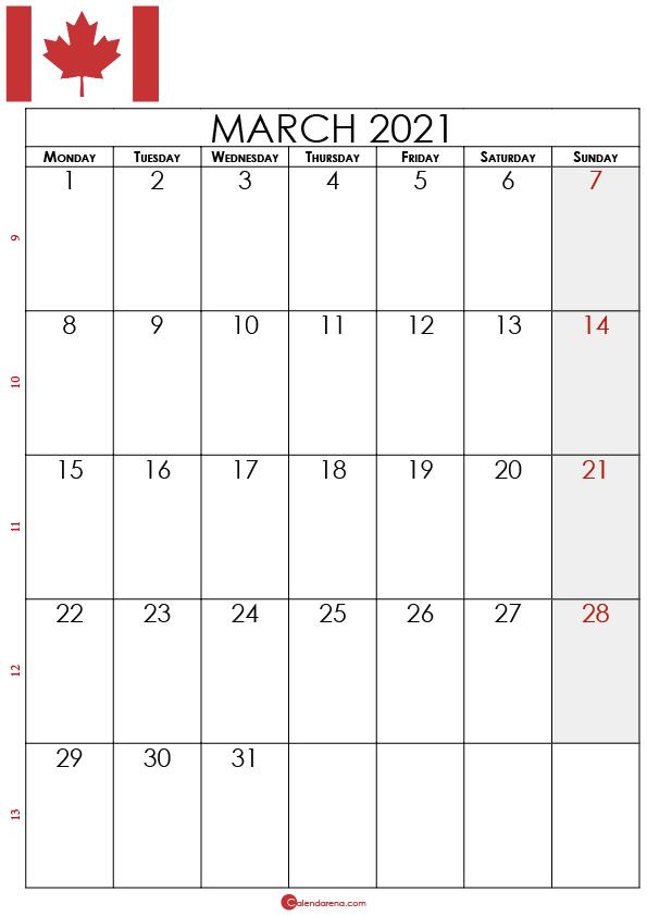 march calendar 2021 canada