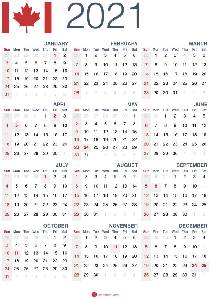 printable calendar 2021 canada