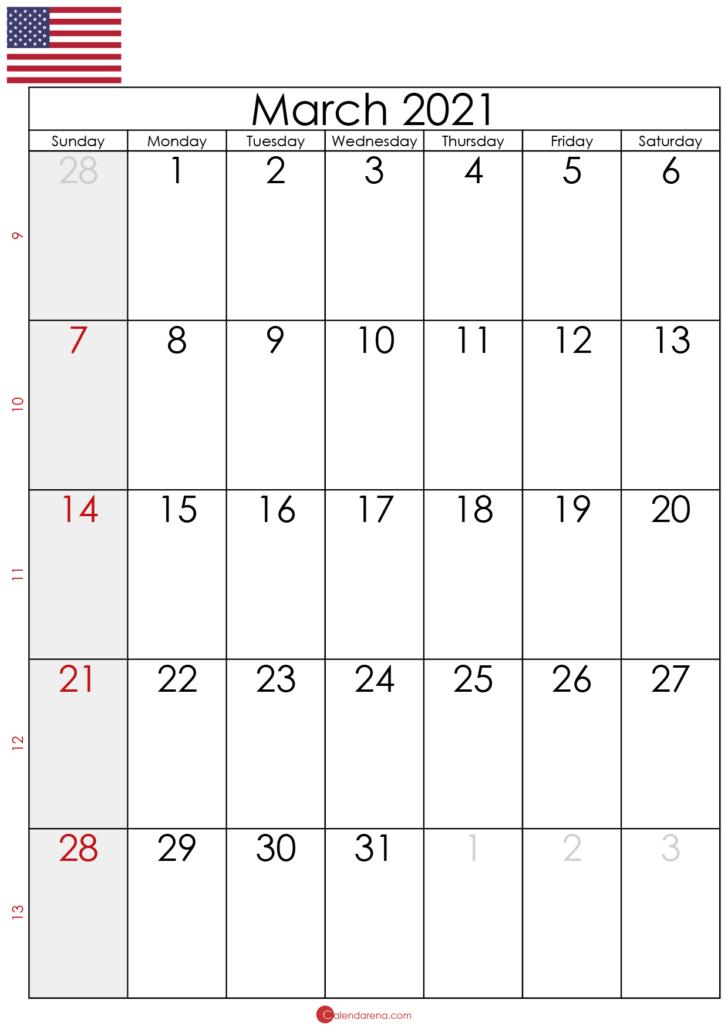 blank calendar march 2021