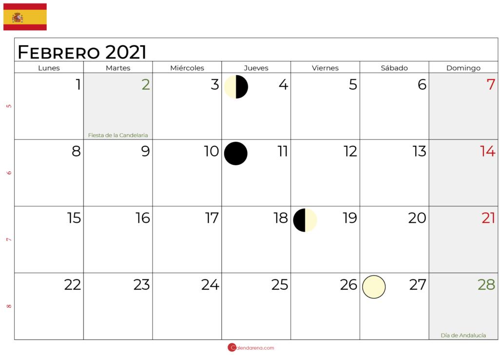 calendario febrero 2021 lunar