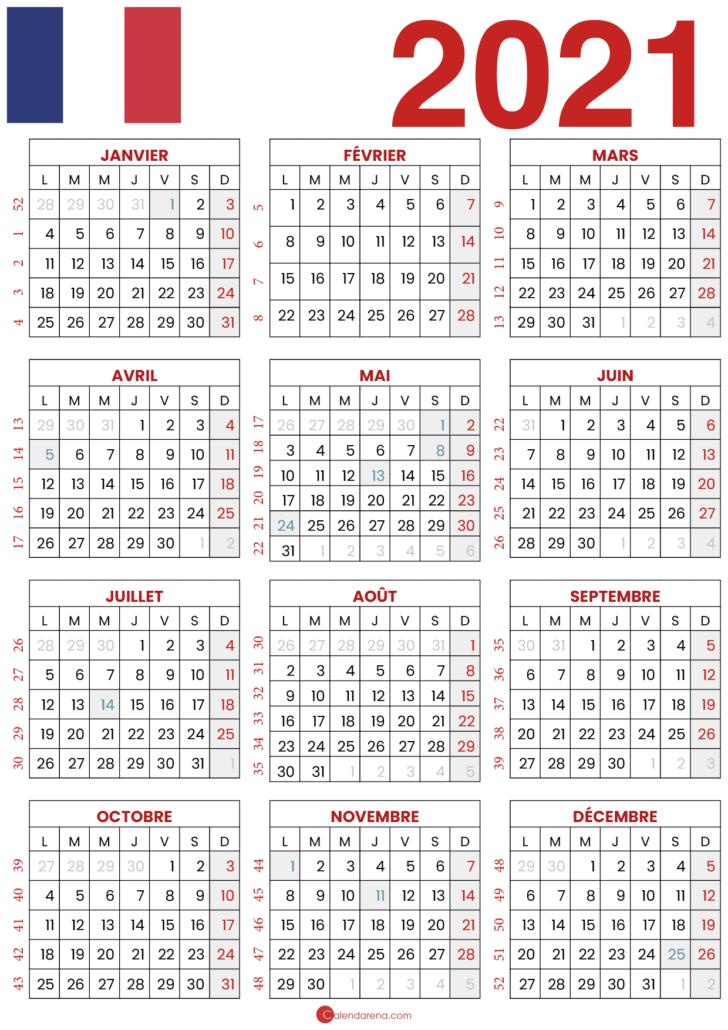 calendrier 2021 avec jours fériés