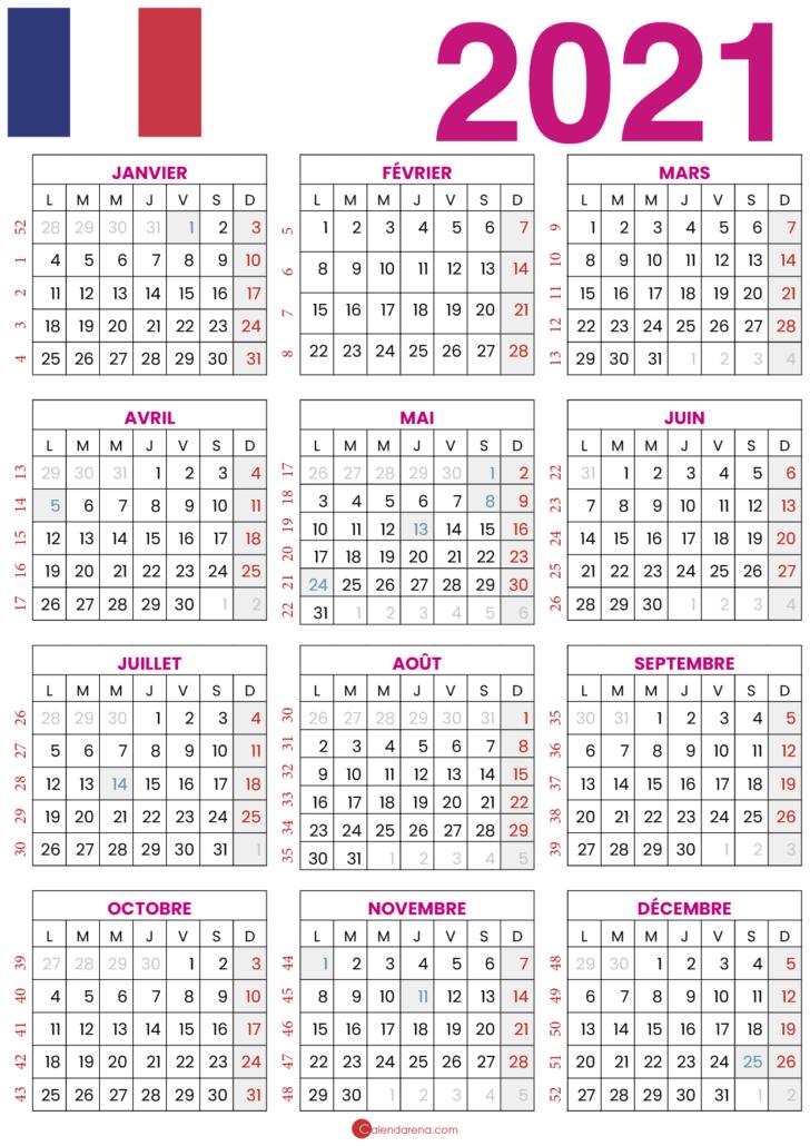 calendrier 2021 semaine