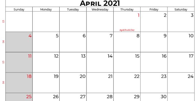 april 2021 calendar usa