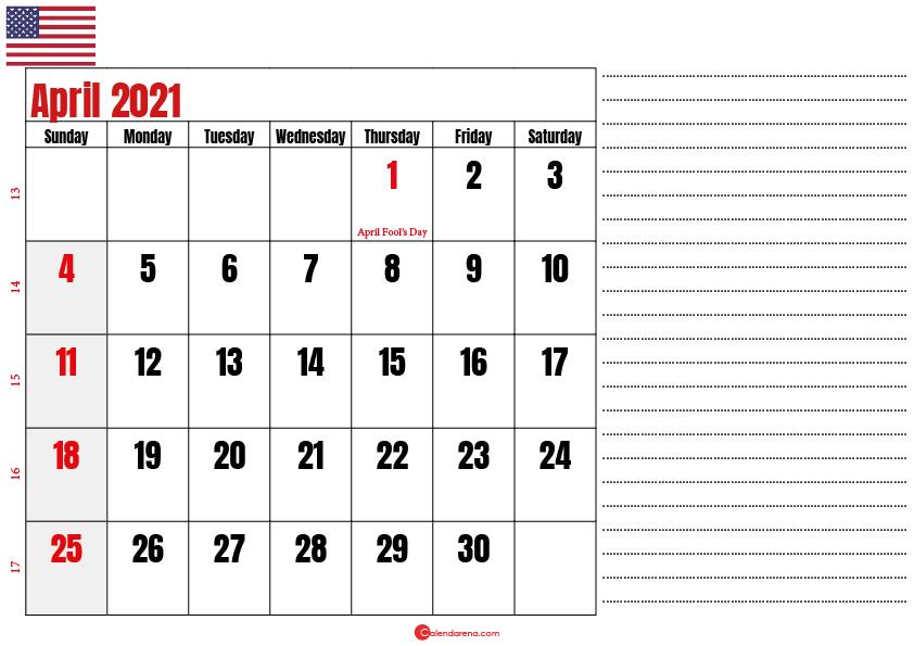 calendar 2021 april notes