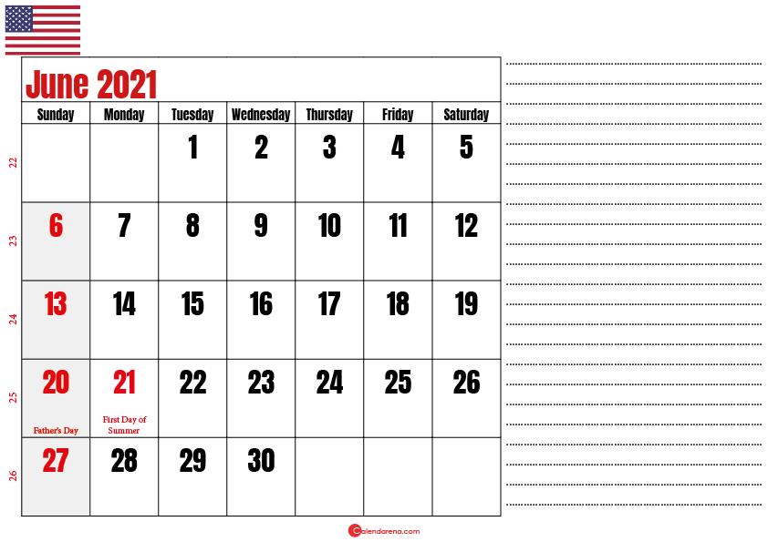 calendar 2021 june notes
