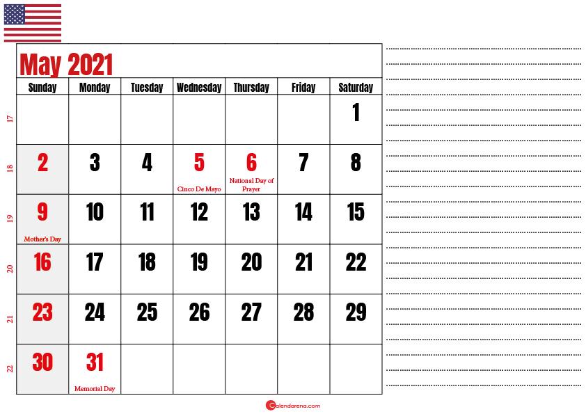 calendar 2021 may notes