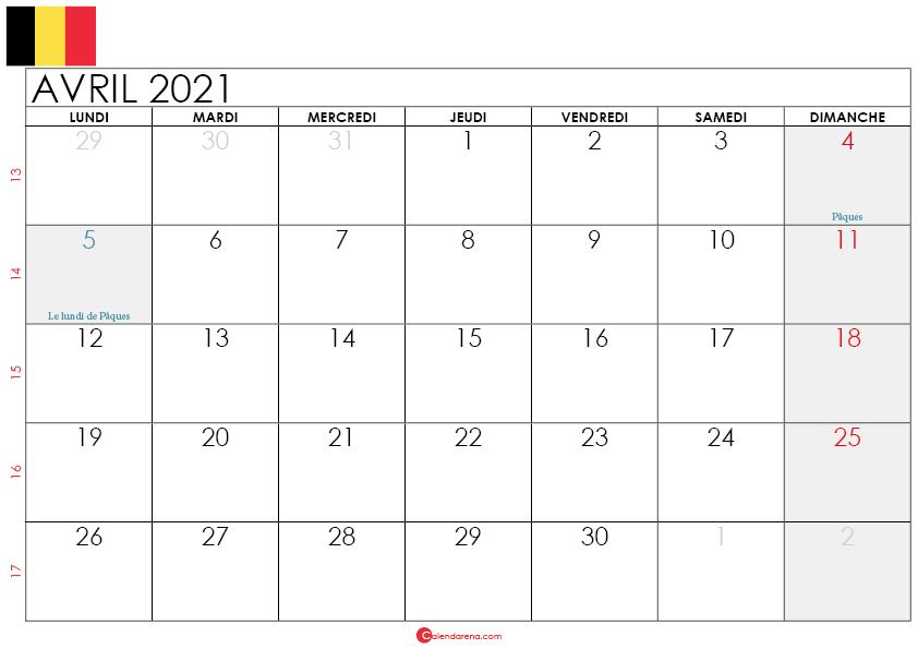 calendrier avril 2021 belgique-L2