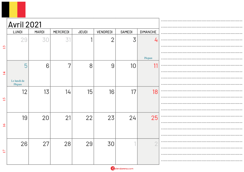 calendrier avril 2021 belgique-Lnotes