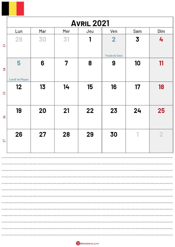 calendrier avril 2021 belgique-Pnotes