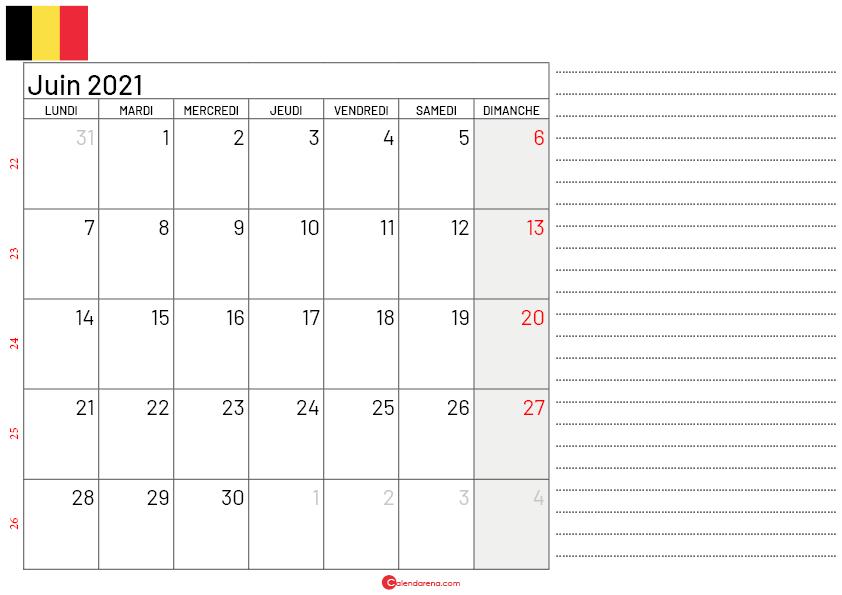 calendrier juin 2021 belgique-Lnotes