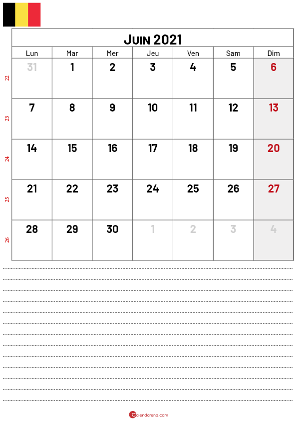 calendrier juin 2021 belgique