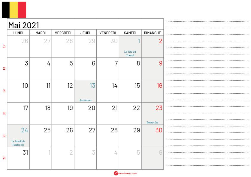 calendrier mai 2021 belgique notes