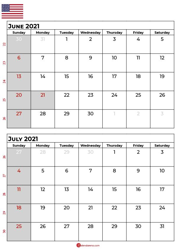 june and july 2021 calendar
