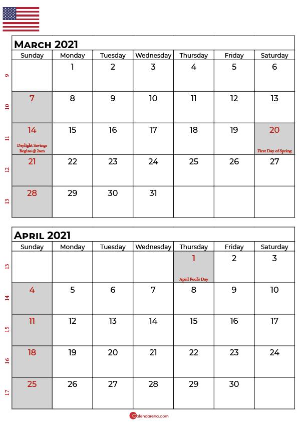 march and april 2021 calendar