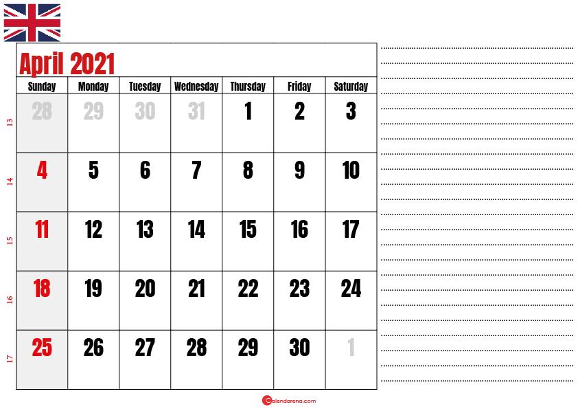 2021 april calendar notes UK