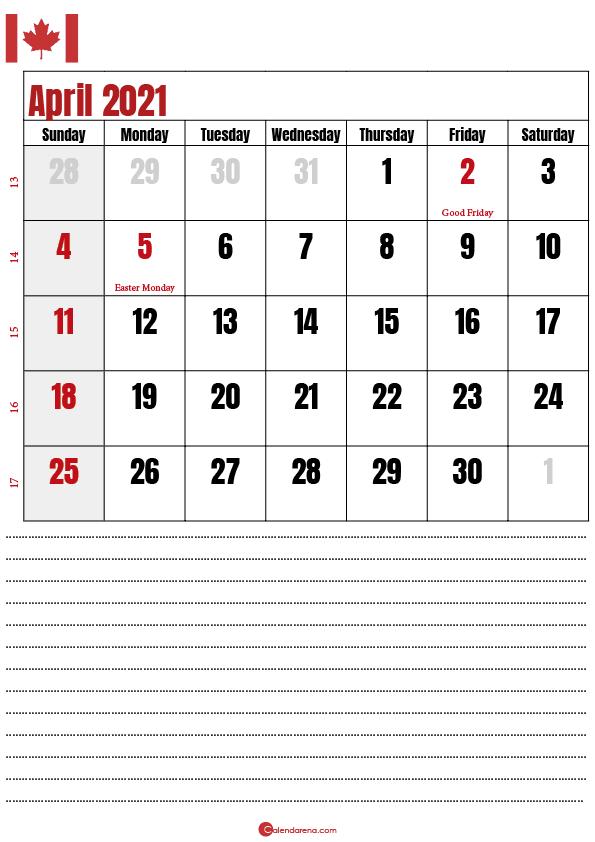 2021 april calendar notes