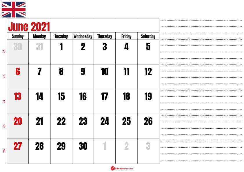 2021 june calendar notes UK