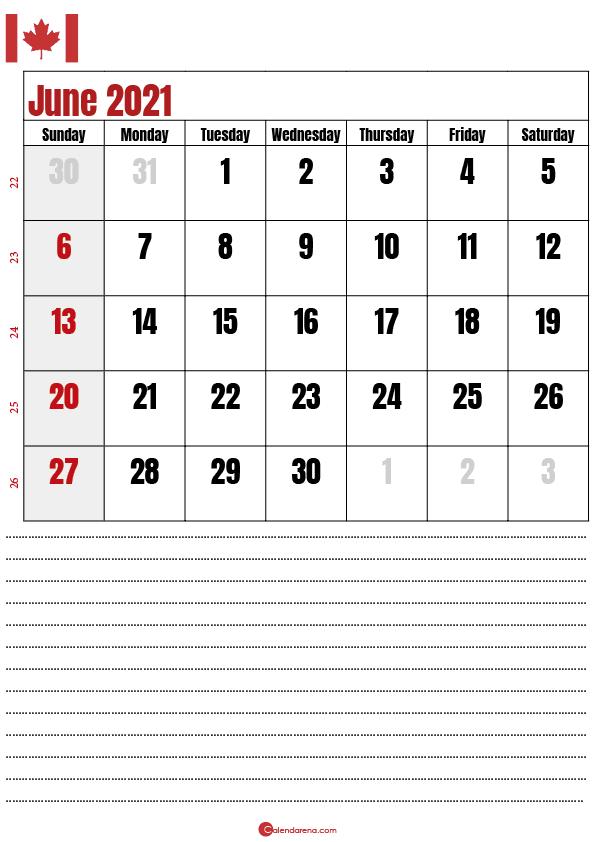 2021 june calendar notes