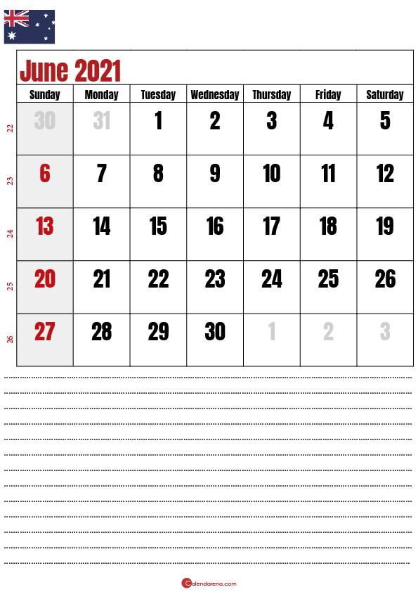 2021 june calendar au