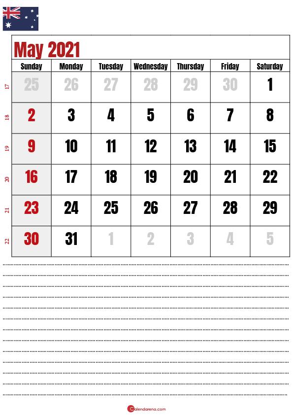 2021 may calendar AU