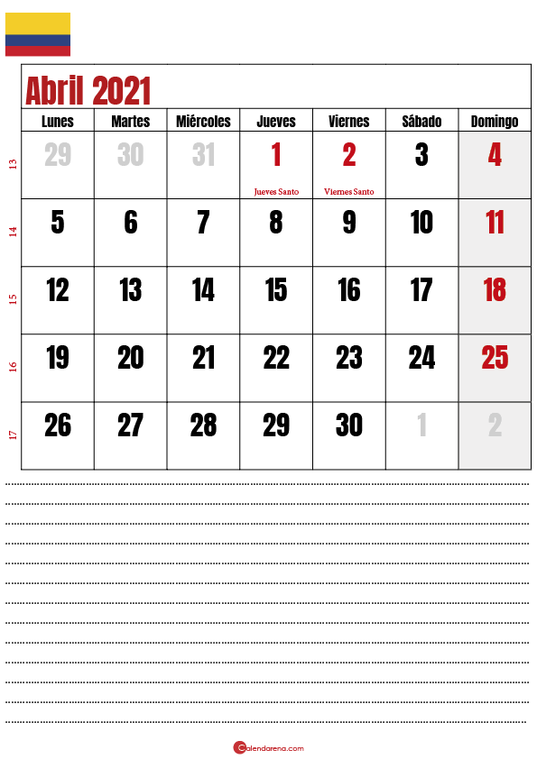 abril 2021 calendario colombia
