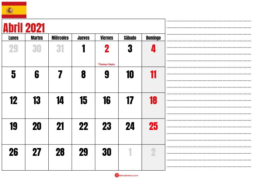 abril 2021 calendario espana