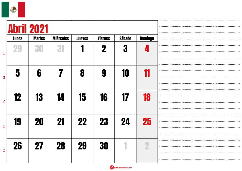 abril 2021 calendario mexico