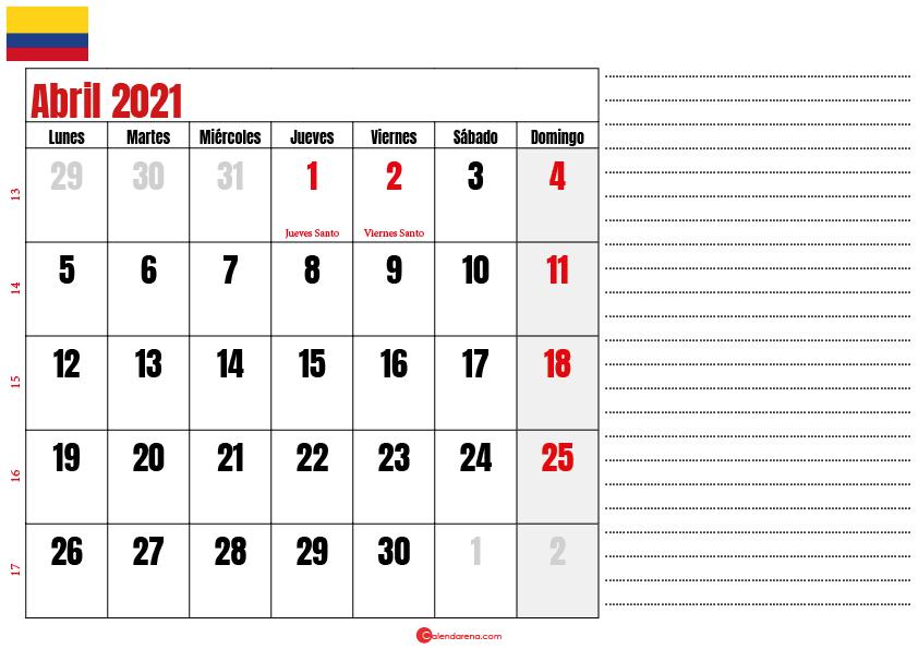 almanaque abril 2021 colombia