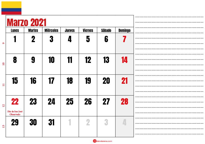 almanaque marzo 2021 colombia