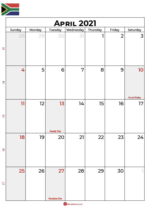 april calendar 2021 SA