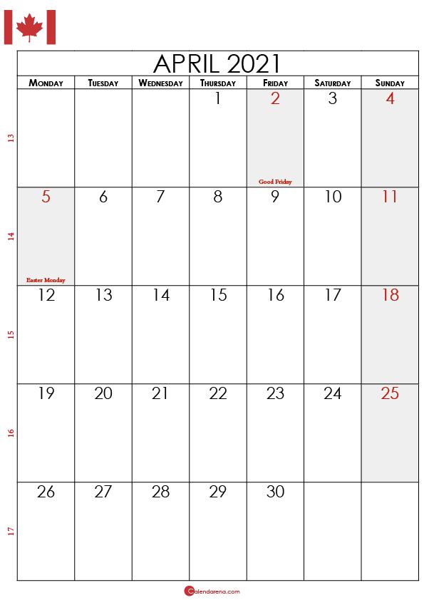 april calendar 2021 canada