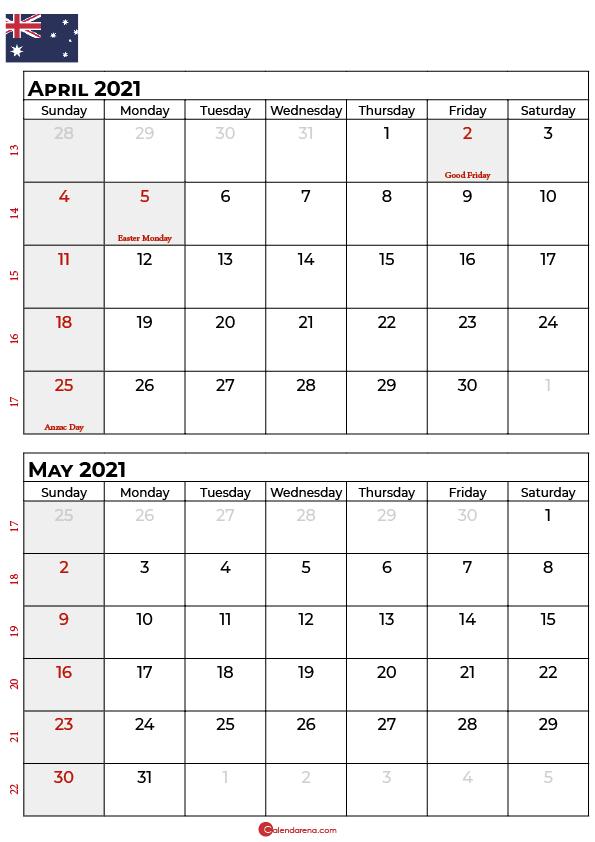 april may 2021 calendar AU