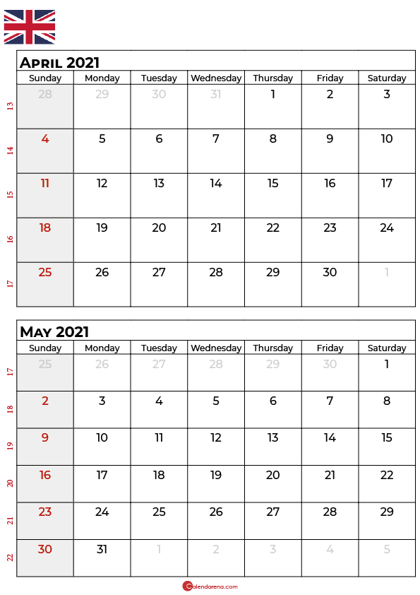 april may 2021 calendar portrait uk