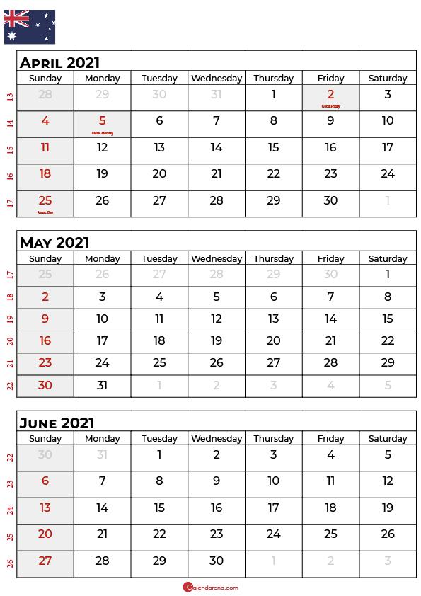 april may june 2021 calendar AU