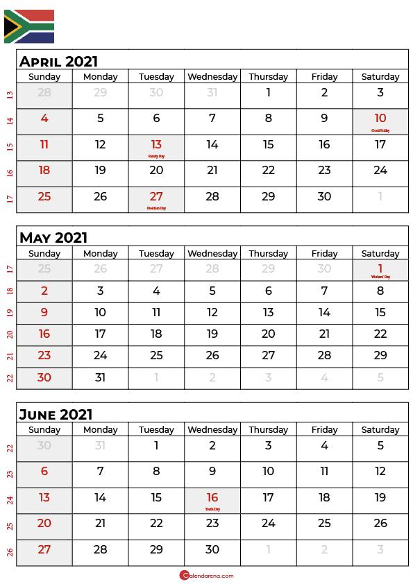 april may june 2021 calendar sa
