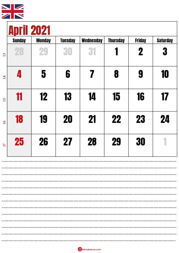 calendar 2021 april notes UK
