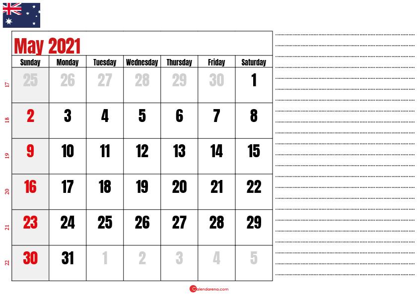 calendar 2021 may AU