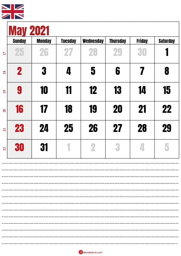 calendar 2021 may notes UK