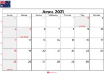 calendar april 2021 AU